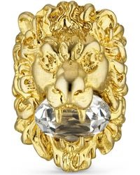 Gucci Lion Head Ring With Crystal - Metallic