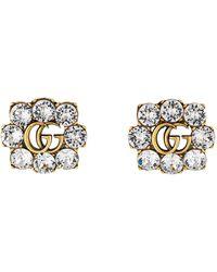 Gucci Pendiente con Doble G de cristal - Metálico