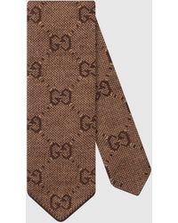 Gucci Krawatte aus Wolle mit GG Motiv - Braun