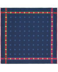 Gucci - Bee Pattern Silk Pocket Square - Lyst