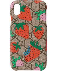 Gucci Étui pour iPhone XR avec motif Strawberry - Neutre