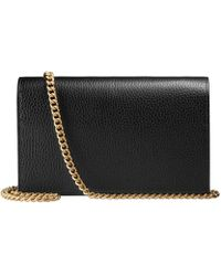Gucci GG Marmont Mini-Tasche aus Leder mit Kette - Schwarz