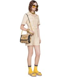 Gucci Wool Silk Short Belted Jumpsuit - White