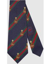 Gucci Krawatte aus Seide mit Web und Wappen - Blau