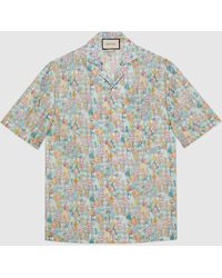 Gucci - Bowling-Shirt mit Liberty-Print und Blumen - Lyst