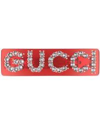 Gucci Fermaglio motivo con cristalli - Rosso