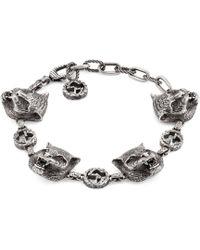 Gucci - Garden Feline Heads Bracelet - Lyst