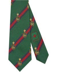 Gucci Cravatta in seta con motivo stemmi e Web - Verde