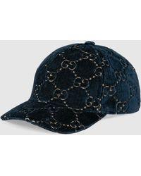 Gucci GG Velvet Baseball Cap - Blue