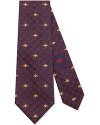 Gucci - Cravatta in seta con api e motivo GG - Lyst