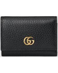 Gucci 【公式】 (グッチ)〔GGマーモント〕ミディアム ウォレットブラックレザーブラック