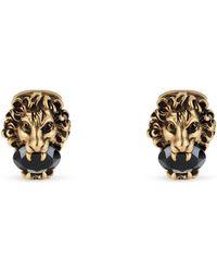 Gucci - Gemelli a forma di testa di leone con cristalli - Lyst