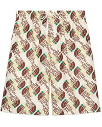 Gucci Shorts aus Seide mit The North Face x Web-Print - Weiß