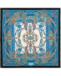 Gucci Bufanda con estampado de cadenas y borlas - Azul