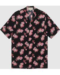 Gucci Bowling-Shirt aus Seide mit Pfingstrosen-Print - Schwarz