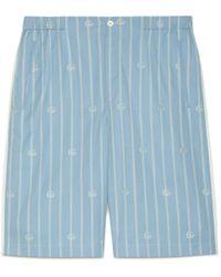 Gucci Short de algodón a rayas con Doble G - Azul