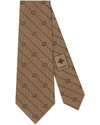 Gucci Cravate en soie à imprimé GG et rayures - Neutre