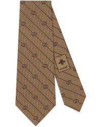 Gucci Krawatte aus Seide mit GG Streifen Print - Natur