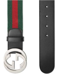 Gucci Web Belt With G Buckle - Green