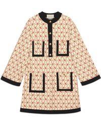 Gucci - Abito in jersey di viscosa con stampa rose - Lyst