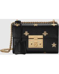 Gucci Kleine Padlock Tasche mit Bienen und Sternen - Schwarz