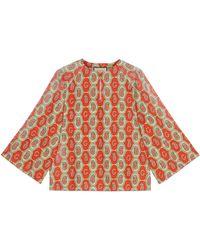 Gucci Camisa tipo túnica de lino con paisley con G - Naranja