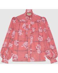 Gucci 【公式】 (グッチ)フローラル プリント シルク ラッフル シャツピンクピンク