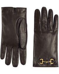 Gucci Handschuhe aus Leder mit Horsebit - Braun