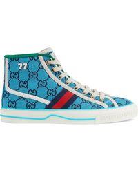 Gucci Sneaker alta Tennis 1977 GG Multicolor da donna - Blu