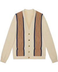 Gucci Cárdigan de algodón con GG perforado - Blanco