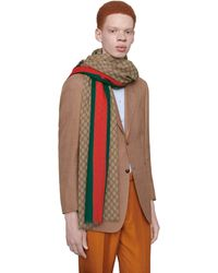 Gucci GG Wool Stole With Web - Natural