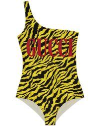 Gucci - Glänzender Badeanzug mit Zebra-Print - Lyst