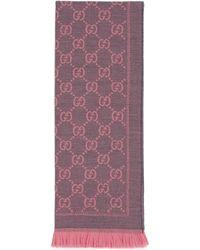 Gucci Schal aus wolle mit gg motiv - Pink