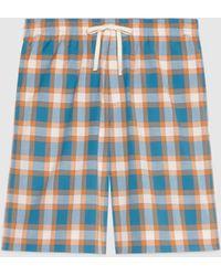 Gucci 【公式】 (グッチ)チェック コットン ショートパンツブルー&オレンジブルー