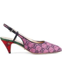 Gucci GG Multicolour Mid-heel Pump - Pink