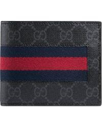 Gucci GG Supreme Web coin wallet - Schwarz