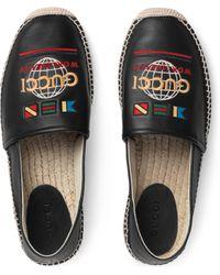 Gucci Espadrille aus Leder mit Band - Schwarz