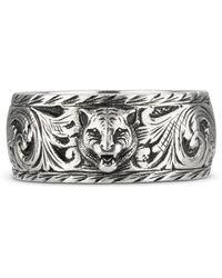 Gucci Thin Silver Ring With Feline Head - Metallic