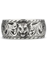 Gucci - Schmaler Ring aus Silber mit Felinekopf - Lyst