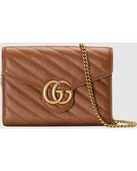 Gucci - 【公式】 (グッチ)〔GGマーモント〕キルティング ミニバッグブラウン レザーブラウン - Lyst