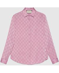 Gucci グッチGGシルククレープデシン シャツ - ピンク