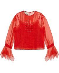 Gucci - Bluse aus Seidenorgandy mit Kristallen - Lyst
