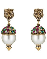 Gucci | Feline Earrings With Crystals | Lyst