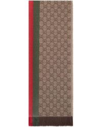 Gucci GG Jacquard Knitted Scarf With Web - Natural