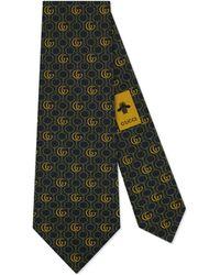 Gucci Corbata con cadena, Horsebit y Doble G - Azul