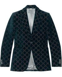 Gucci Chaqueta de terciopelo con GG - Azul