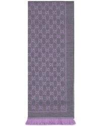 Gucci Wool GG Jacquard Scarf - Purple