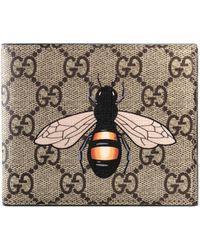 Gucci Brieftasche aus GG Supreme mit Bienenprint - Natur