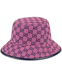 Gucci Sombrero fedora de lona GG Multicolor - Rosa