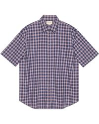486d87b2c Gucci Check Wool Oversize Shirt in Blue for Men - Lyst